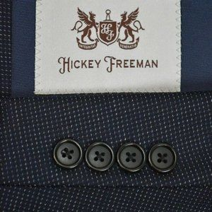 42R Hickey Freeman CURRENT Navy Blue Textured coat